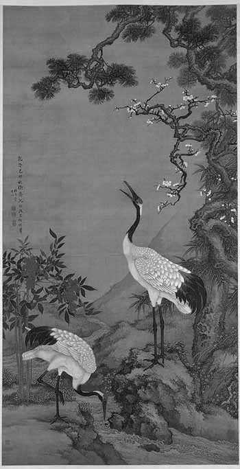 Pine,_Plum_and_Cranes_BW1